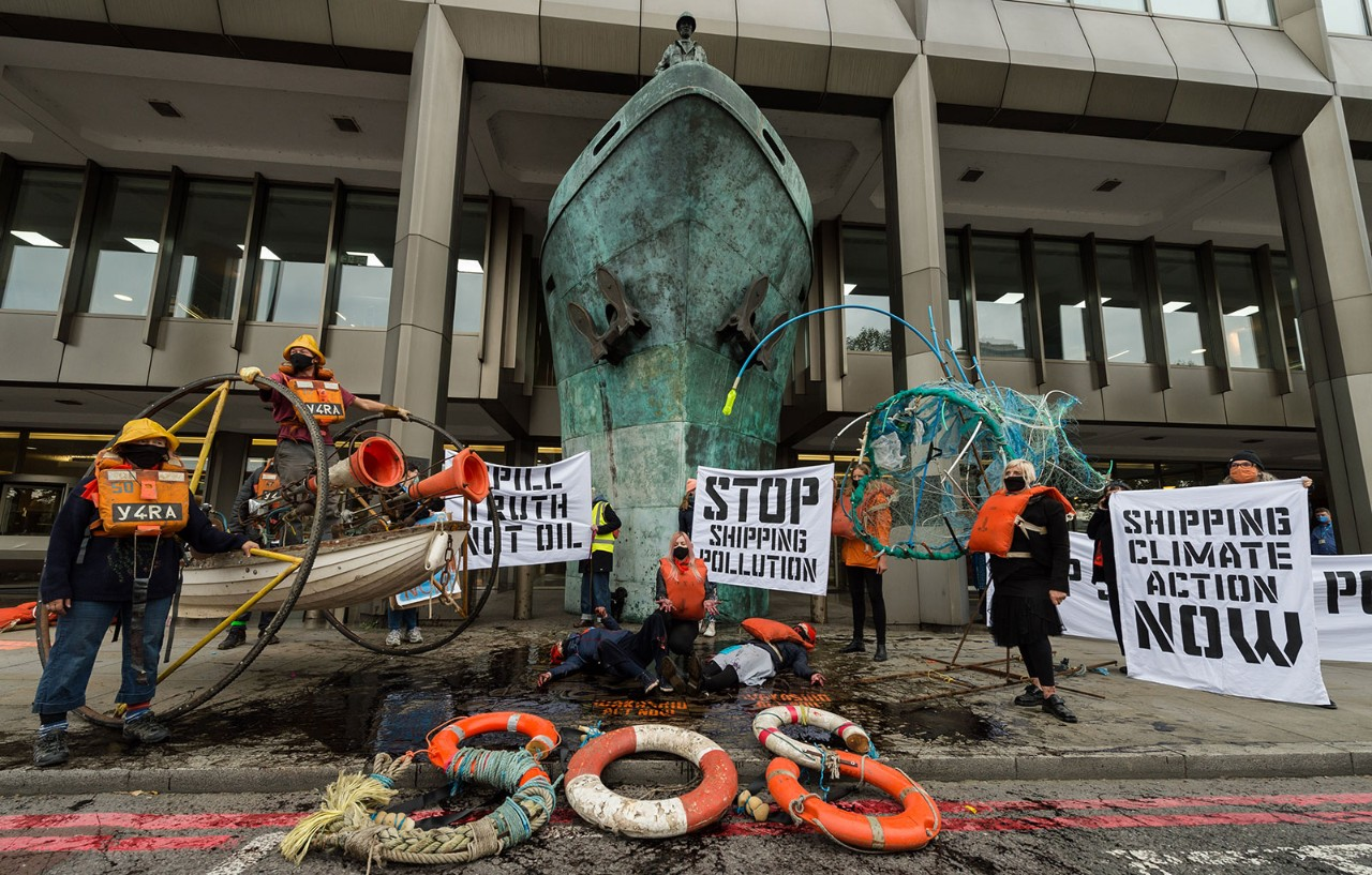 Activists stage a protest outside the UN's International Maritime Organisation in London on the opening day in October of negotiations into the reduction of greenhouse gas emissions from shipping